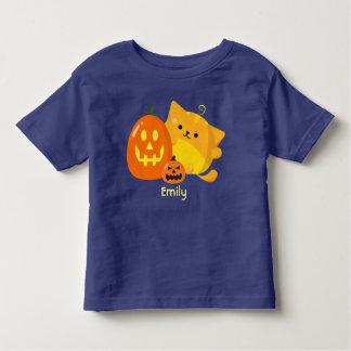 T-shirt Pour Les Tous Petits Halloween personnalisable - chat de citrouille