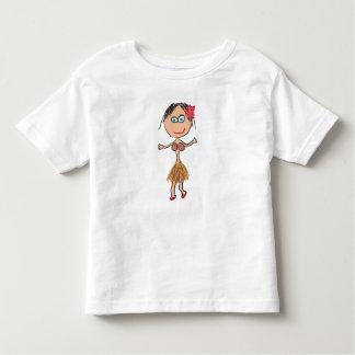T-shirt Pour Les Tous Petits Madame hawaïenne dans la jupe d'herbe