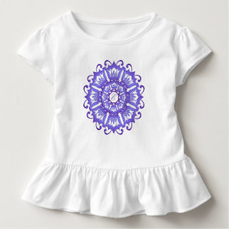 T-shirt Pour Les Tous Petits Mandala turquoise ethnique. monogramme