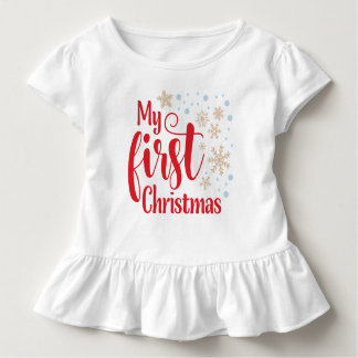 T-shirt Pour Les Tous Petits Mon premier Noël avec des flocons de neige |