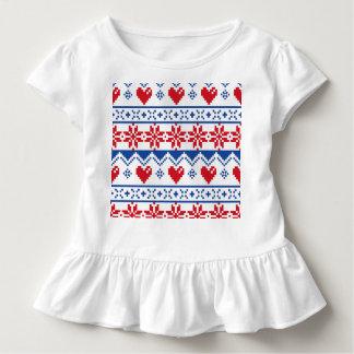 T-shirt Pour Les Tous Petits Noël nordique en rouge et bleu