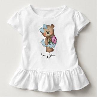 T-shirt Pour Les Tous Petits Ours lunatique de ballerine avec le bouquet de