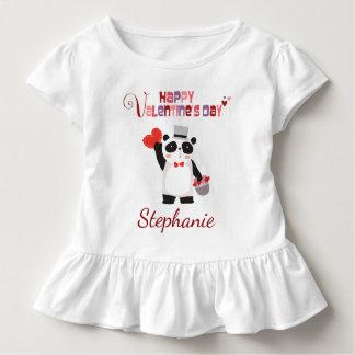 T-shirt Pour Les Tous Petits Panda de coeur de heureuse Sainte-Valentin
