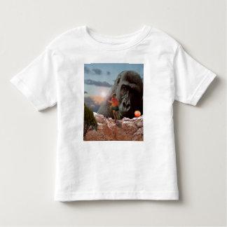T-shirt Pour Les Tous Petits Partageant Apple avec un gorille,