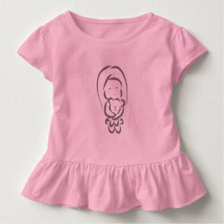T-shirt Pour Les Tous Petits Petite fille tenant un ours