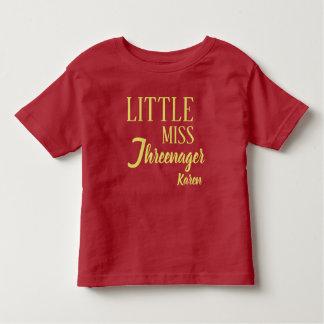 T-shirt Pour Les Tous Petits Petite Mlle personnalisée Threenager Birthday