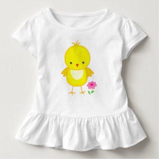 T-shirt Pour Les Tous Petits Poussin mignon avec la fleur