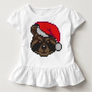 T-shirt Pour Les Tous Petits Raton laveur dans le casquette de Père Noël