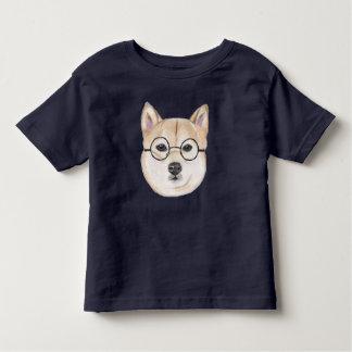 T-shirt Pour Les Tous Petits Shiba Inu avec les verres encadrés par rond