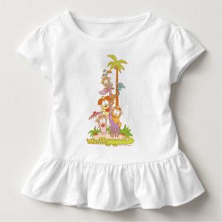 T-shirt Pour Les Tous Petits Simplement Garfield et amis montant une girafe