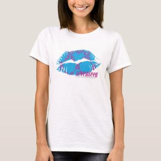 T-shirt Pourpre-Aqua de damassé