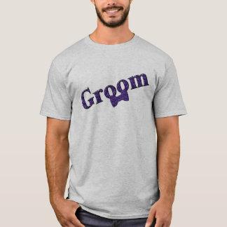 T-shirt pourpre de noce d'impression de zèbre de