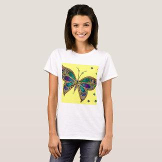 T-shirt pourpre de papillon de fibromyalgie