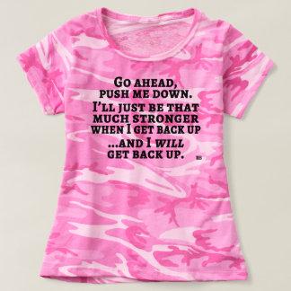 """T-shirt """"Poussez-moi en bas"""" de la pièce en t rose de Camo"""