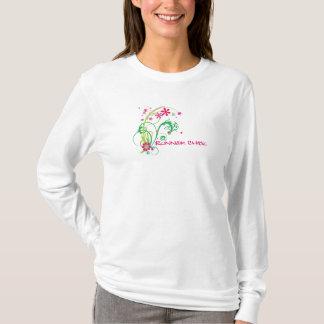 T-shirt Poussin de coureur, 13,1 verts et roses