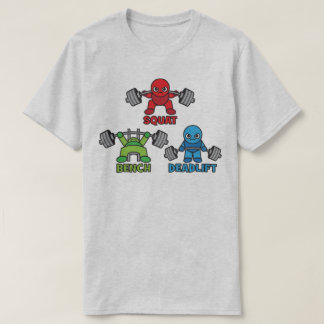 T-shirt Powerlifting Kawaii - posture accroupie, banc à