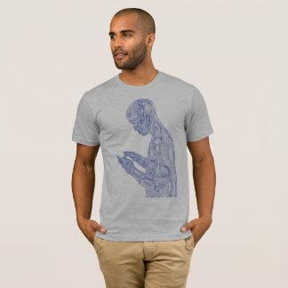 T-shirt Prière américaine (gris de bruyère avec la marine)