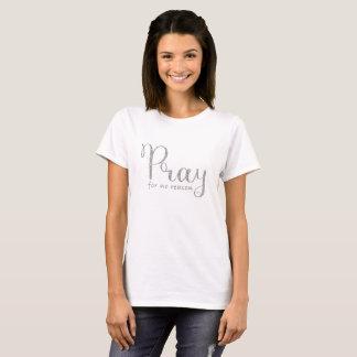 T-shirt Priez le gris argenté de scintillement