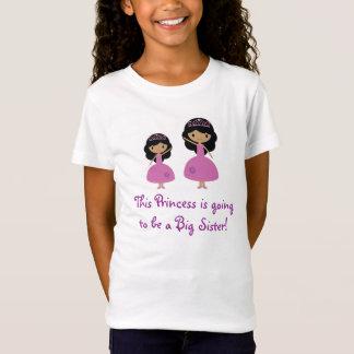 T-Shirt Princesse rose grande soeur - peau foncée