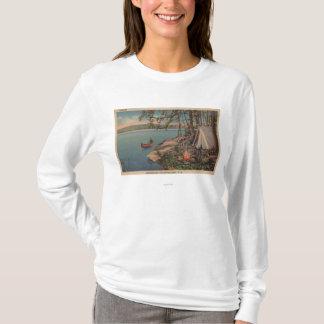 T-shirt Pulaski, vue de NY de canoë, camping, tente, lac