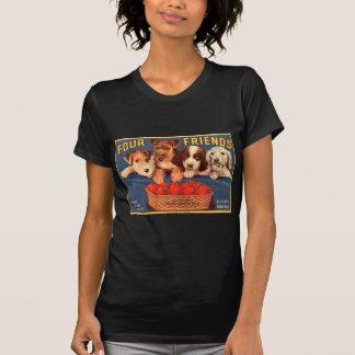 T-shirt Quatre chiens vintages d'étiquette de caisse de