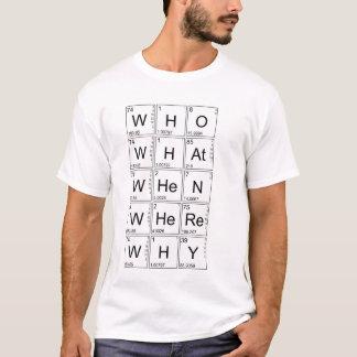 T-shirt Questions élémentaires - OMS, CE QUI, QUAND, OÙ,