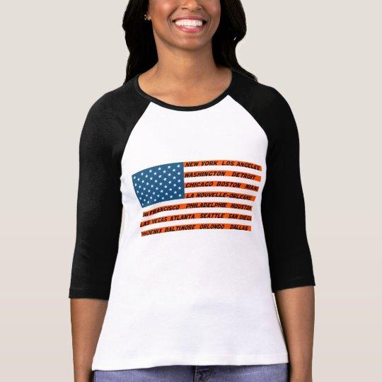 T-shirt Raglan à manches 3/4 femme, Drapeau USA Orange
