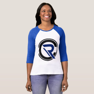 T-shirt raglan bleu de la douille des femmes de
