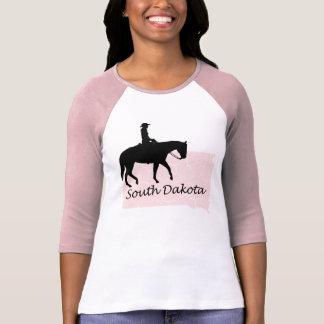 T-shirt Raglan rose de dames grunges de carte de cow-girl