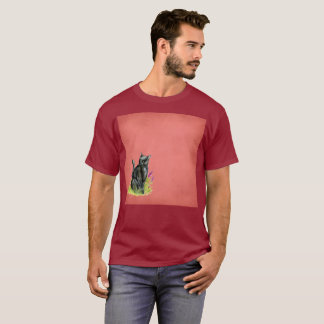 T-shirt rare d'aquarelle noire sophistiquée de