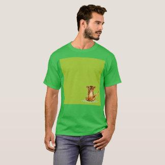 T-shirt rare de Gato d'aquarelle verte triste de