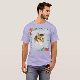 T-shirt rare de peinture de chat d'aquarelle