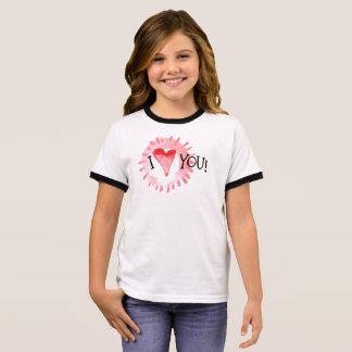 T-shirt Ras-de-cou Beau coeur d'I vous chemise de sonnerie de la