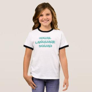 T-shirt Ras-de-cou Double peloton de langue, chemise de bilingue de