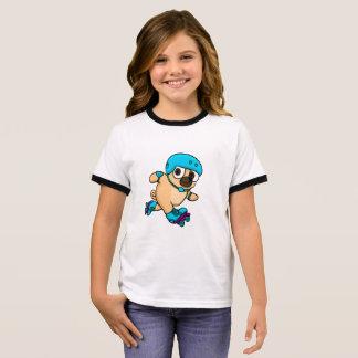 T-shirt Ras-de-cou Le carlin de bande dessinée fait du roller dessus