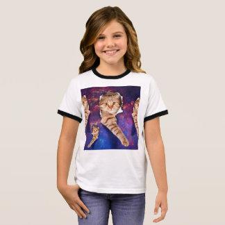 T-shirt Ras-de-cou Regardant le chat - chat espiègle - chats dans