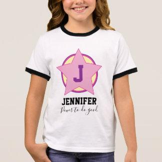 T-shirt Ras-de-cou Super héros personnalisé de fille avec l'initiale
