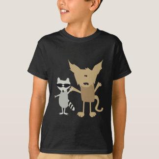 T-shirt Raton laveur et chat sauvage