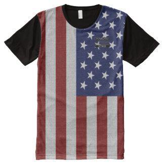 T-shirt rayé rouge d'étoile bleue de drapeau des