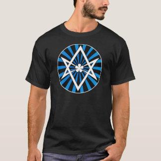 T-shirt Rayon de soleil unicursale de bleu de Hexagram de