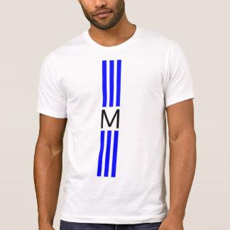 T-shirt Rayures bleues modernes de monogramme