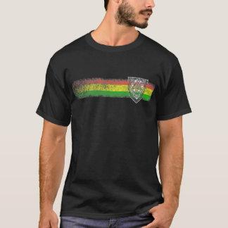 T-shirt Rayures de reggae de Rasta avec le bouclier de