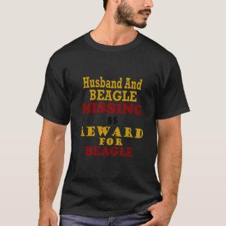 T-shirt Récompense absente de beagle et de mari pour le