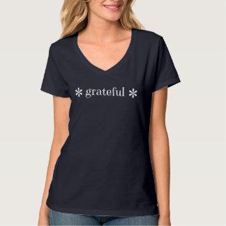 """T-shirt """"reconnaissant"""" de V-Cou de fleur"""