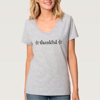 """T-shirt """"reconnaissant"""" de V-Cou d'étoile"""