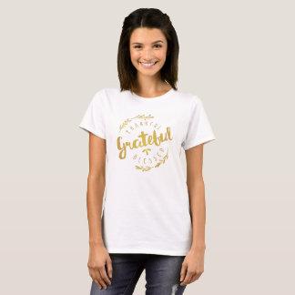 T-shirt Reconnaissant reconnaissant de guirlande d'or de