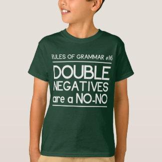 T-shirt Règles de grammaire. Les doubles négatifs sont un