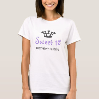 T-shirt Reine d'anniversaire de sweet sixteen - pourpre