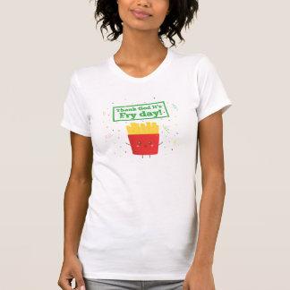 T-shirt Remerciez Dieu que c'est jour de friture ! avec