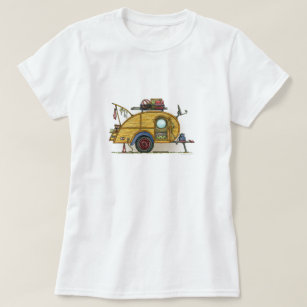 T-shirt Remorque vintage mignonne de voyage de campeur de